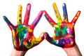Two colorful hands forming a heart V2 Royalty Free Stock Photo