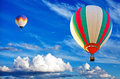 Two colorful hot air balloon on  blue sky Royalty Free Stock Photo