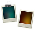 Two colorful polaroid frame for pictures Stock Images