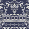 Two colors damask pattern. Classic style. Damask ornament