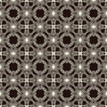 Two colors lace seamless pattern repeatable with abstract geometric shapes on classic lacy ornament endless background texture Royalty Free Stock Photos