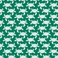 White on green turtle geometric pattern seamless repeat background