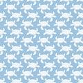 White on light blue turtle geometric pattern seamless repeat background