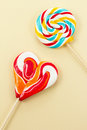 Two colourful lollipops close up Royalty Free Stock Image