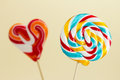 Two colourful lollipops close up Royalty Free Stock Photos
