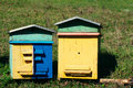 Two colourful wooden beehives. Royalty Free Stock Photo