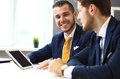 Two confident businessmen networking Royalty Free Stock Photo