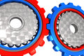 Two Connected Work Cogwheel Gears Royalty Free Stock Photo