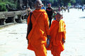 Two Contemplating Monk in Cambodia Royalty Free Stock Photo