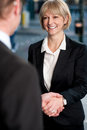 Two corporate identities shaking hands business people deal finalized Stock Photos