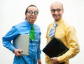 Two crazy businessman laptops Stock Photography