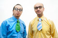 Two crazy businessmen white background Royalty Free Stock Photography