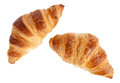 Two croissants isolated on white with clipping path Royalty Free Stock Images