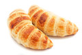 Two croissants  on white Stock Photography