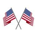 Two crossed american flag vector.