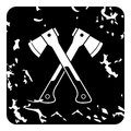 Two crossed axes icon, grunge style