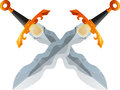 Two Crossed Flamberg Swords Royalty Free Stock Photo