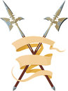 Two crossed halberds with banner entwined elegant forming three lines Stock Image
