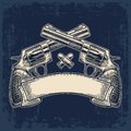 Two crossed revolver with bullets and ribbon. Royalty Free Stock Photo