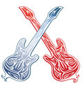 Two crossed stylized guitars Royalty Free Stock Images