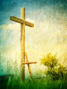 Two crosses a symbol of following jesus christ small cross leaned to large one faith discipleship and illustration to the words Stock Images