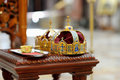 Two crowns as orthodox wedding accessories ceremonial Royalty Free Stock Photos