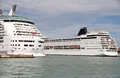 Two cruise ships docked in the port of venice italy Stock Photos