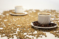 Two Cup of coffee on beans Royalty Free Stock Photo