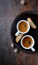 Two cups coffee cantuccini ceramic plate Royalty Free Stock Photo
