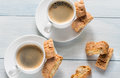 Two cups of coffee with cantuccini Royalty Free Stock Photo