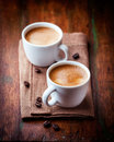 Two cups of espresso coffee Stock Images