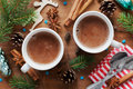 Two cups of fresh hot cocoa or hot chocolate on wooden christmas background Royalty Free Stock Photo