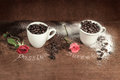 Two cups  full of coffee beans with red bud rose on  wooden table. Royalty Free Stock Photo