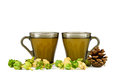 Two cups of green tea fir cone and physalis on white background Royalty Free Stock Photography