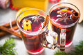 Two cups with mulled wine for Christmas