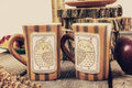 Two cups of tea or coffee on retro wooden table Royalty Free Stock Photo
