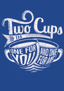 Two cups of tea vector illustration ideal for printing on apparel clothes Royalty Free Stock Image