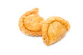 Two curry puffs on white Royalty Free Stock Image