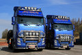 Two customized volvo fh trucks salo finland april beautifully haul forest machinery campaign for the new truck series Stock Photo