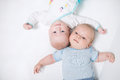 Two cute babies portrait of on white background Royalty Free Stock Image