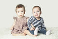 Two Cute Baby. Lovely Friends Royalty Free Stock Photo