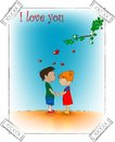 Two cute cartoon character romantic picture vector Royalty Free Stock Images