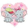Two Cute Cartoon Elephants