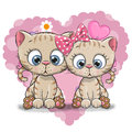 Two Cute Cartoon Kitten