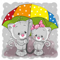 Two cute cartoon kittens with umbrella