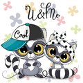 Two Cartoon Raccoons boy and girl with cap and bow