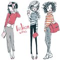 Two cute cartoon sketched fashion little girls