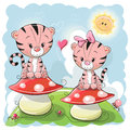 Two Cute Cartoon Tigers and mushrooms
