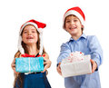 Two cute children gives gifts Stock Image
