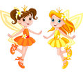 Two cute fairies illustration of in fly Stock Photo
